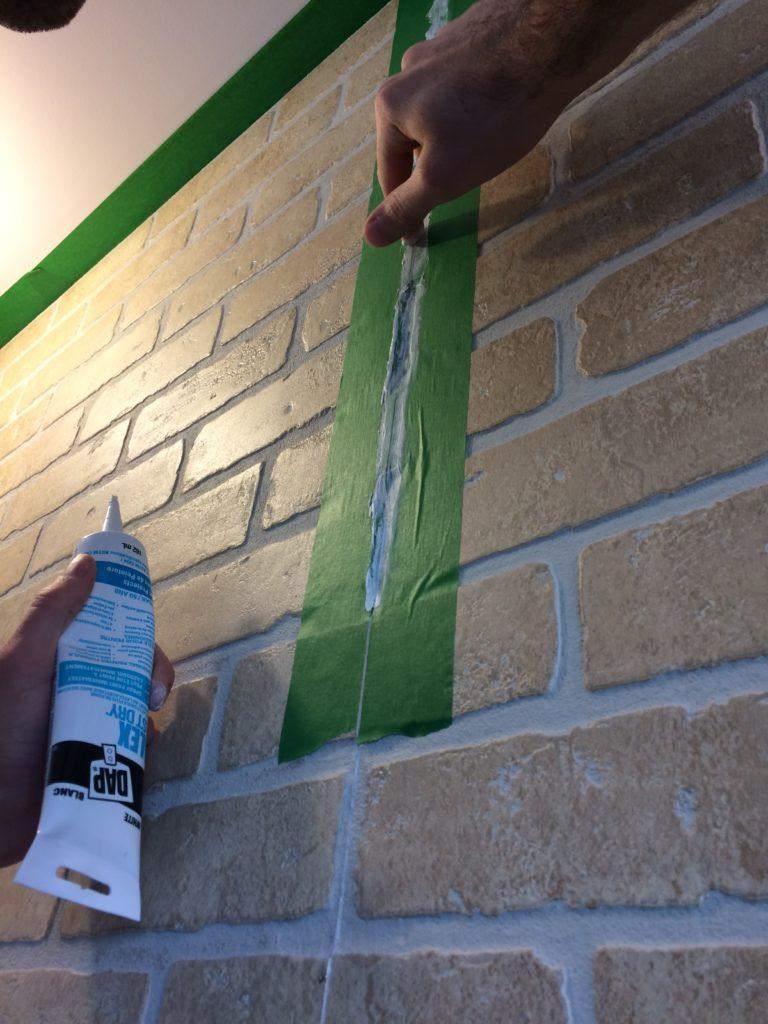 faux brick wall caulking