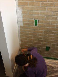 faux brick wall white paint