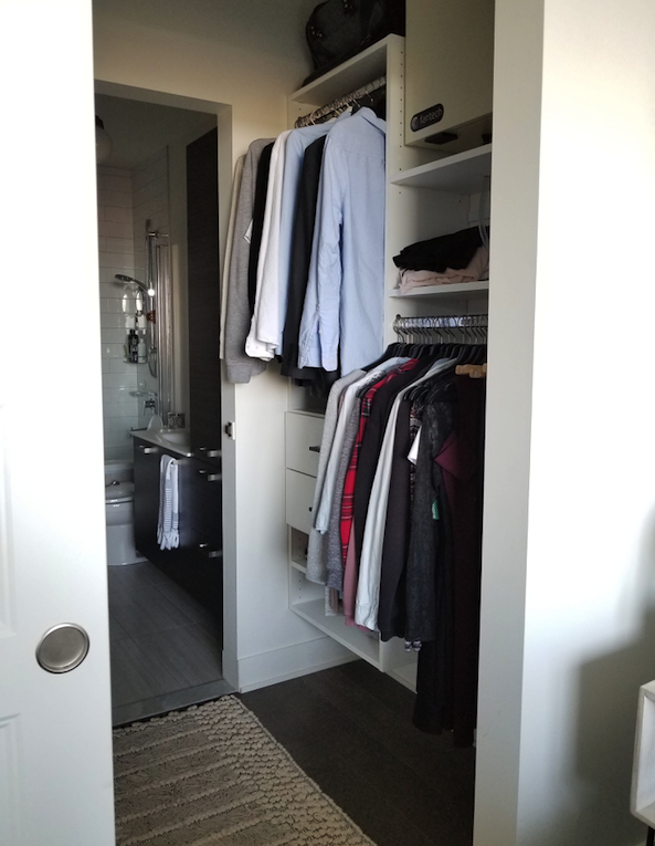 Custom walk in closet storage space