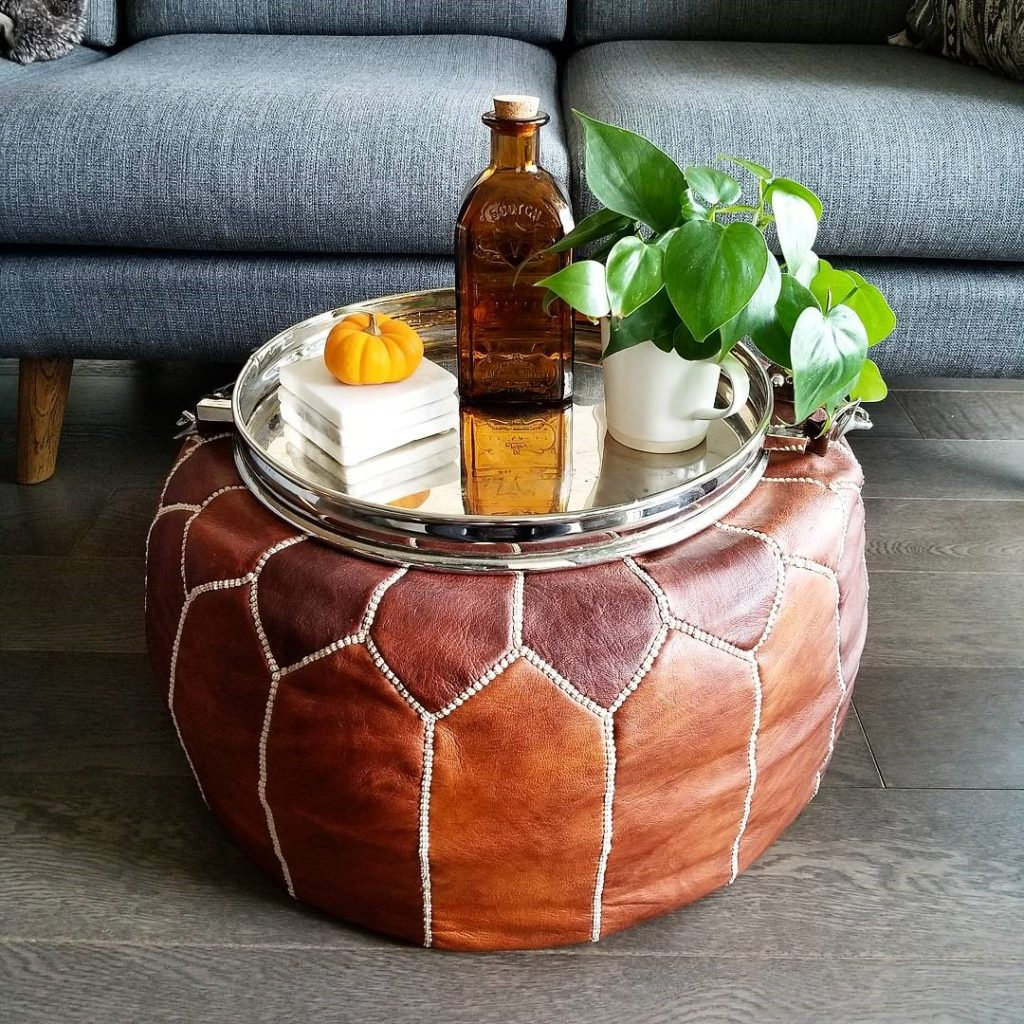 Moroccan pouf coffee table