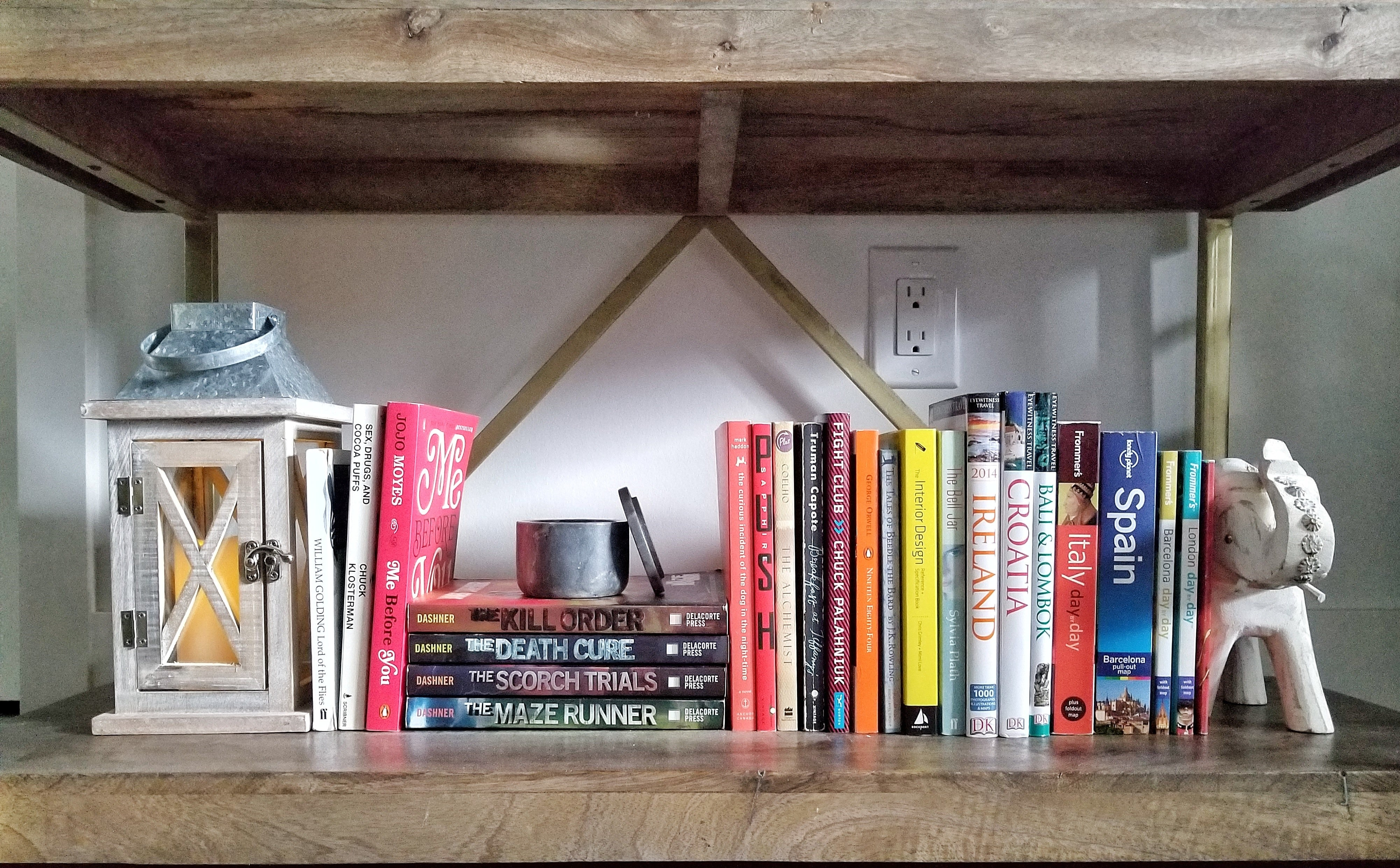 Wooden bookshelf decorating