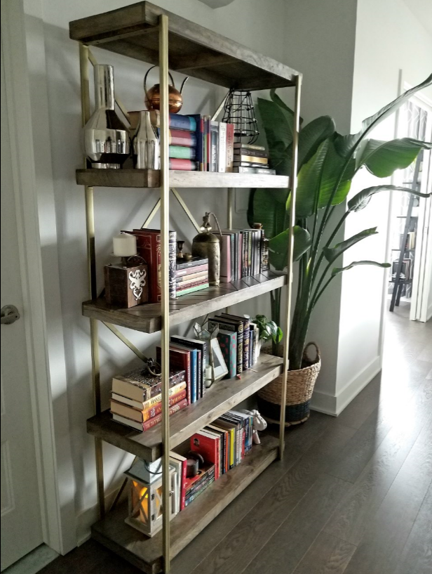 decorated wooden bookshelf small space