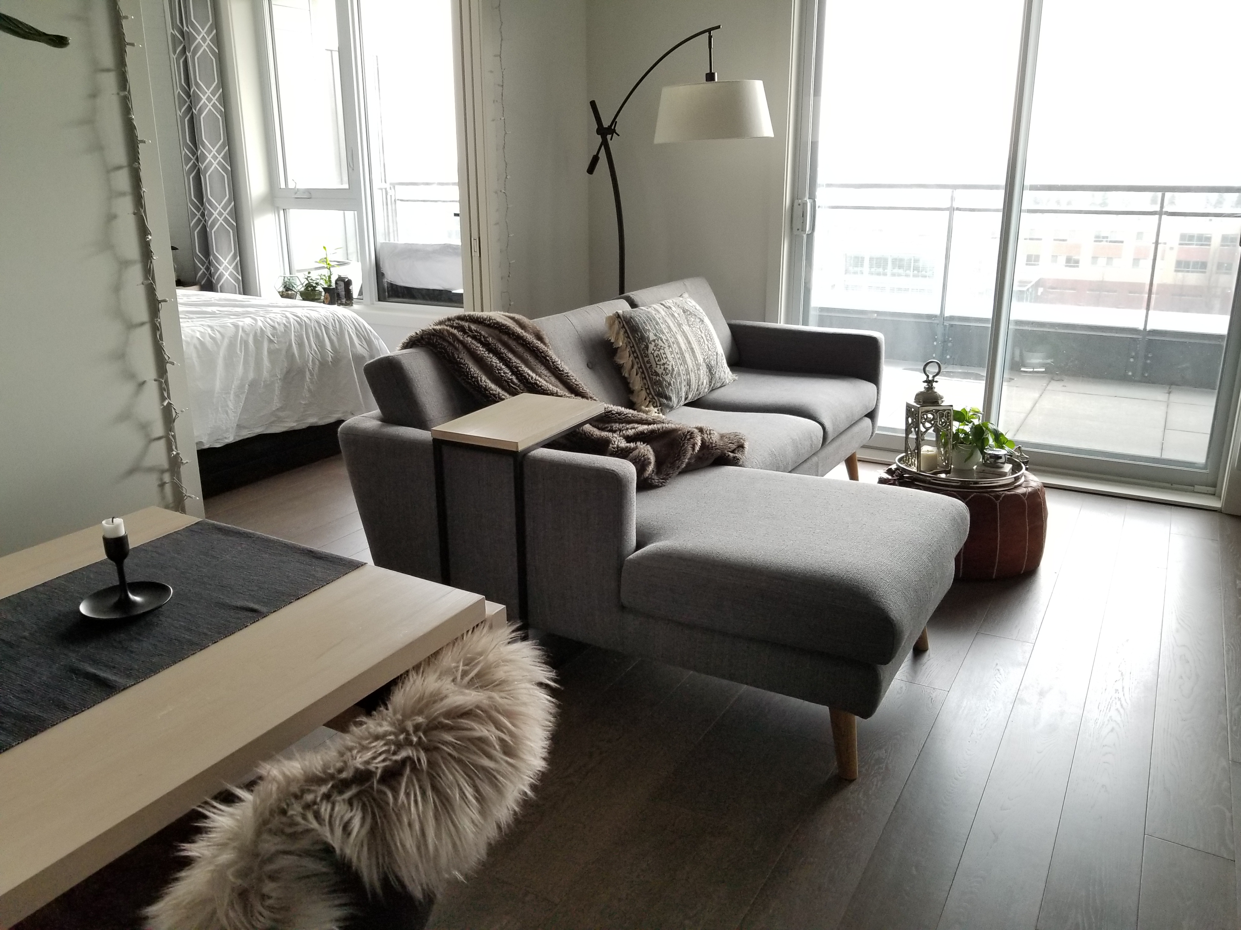 small space living grey sectional
