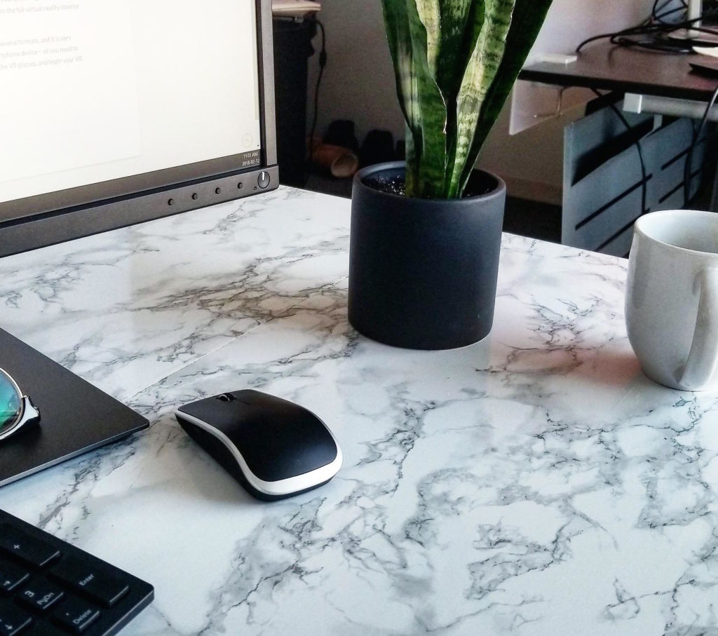 DIY marble contact paper desk copy